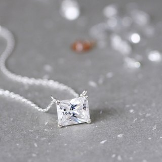 White Square necklace Silver925
