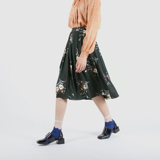 [Egg Plant Vintage] Green Branches Printed Vintage Dress