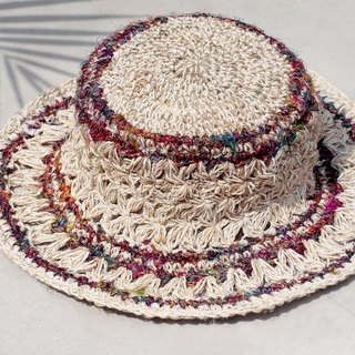 Limited handmade sari lotus knitted cotton and linen hat / weaving hat / fisherman hat / straw hat / straw hat - hand twist yarn lace line hollow hand weaving