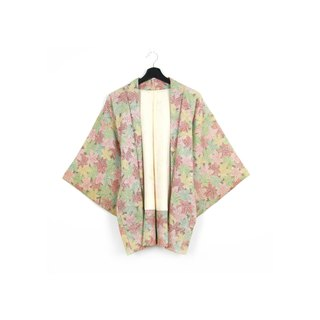 Back to Green-Japan with back feathers fruit maple leaf/vintage kimono