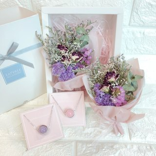 Goody Bags Dry Flower Box Sets  Pink Purple Crystal Necklace Birthday