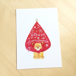 Lion Christmas tree christmas card