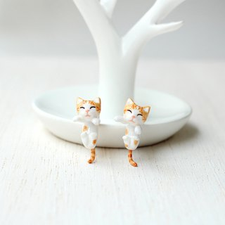 Orange Cat Earrings, Gauge & Plug Earrings, Two Piece Earrings