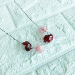 Red Pink Necklace Bridesmaid gift wedding gift Glass Ball Flower