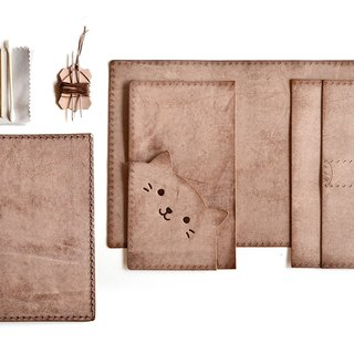 Fading Mist Leather DIY Kit Set - Kitten Passport Holder