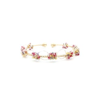 Rosie Pink Beads 16K Gold Copper Pamycarie Bangle