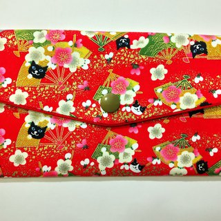 Lucky double red envelope bag / passbook pouch (08 plum, gold leaf and cat)