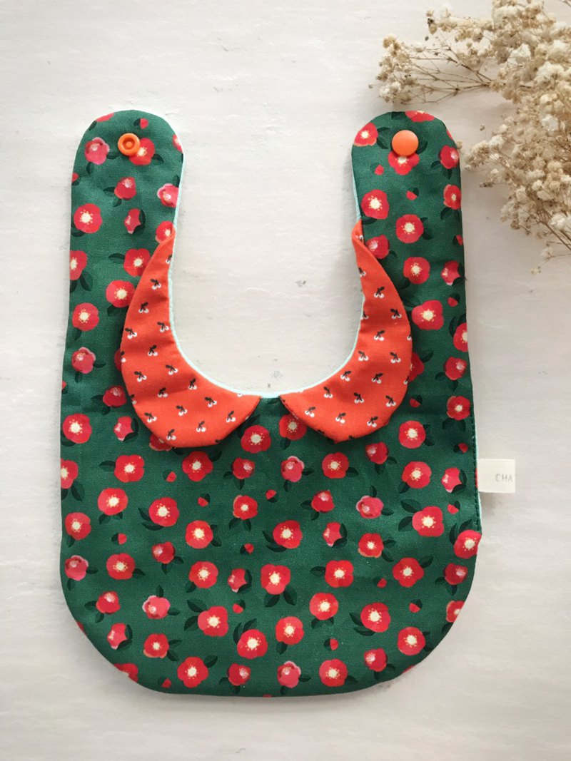 Little red flowers full of handmade cotton multilayer yarn little lady bib saliva towel