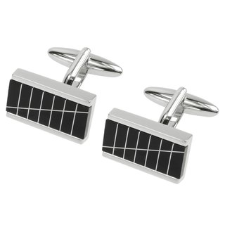Onyx Striped Mosaic Rectangular Cufflinks