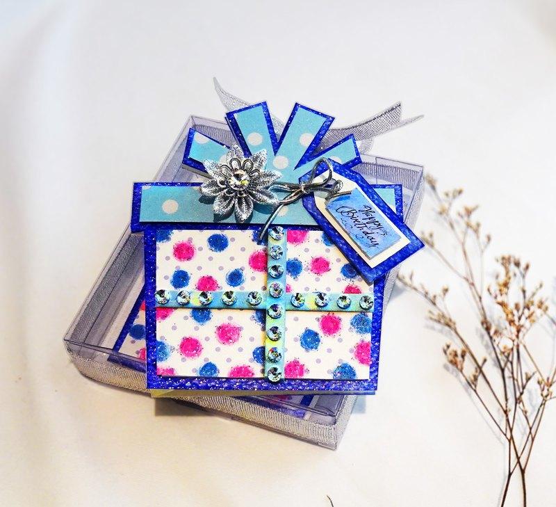 生日快樂 禮物包 緞帶永生花 立體 手工生日卡片(萬用卡)