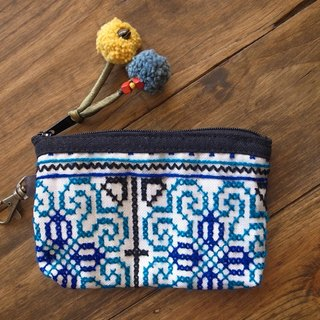 【Grooving the beats】[ Fair Trade] Hill Tribe Vintage Simple Coin Purse(Blue)