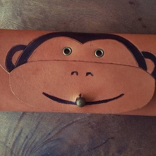 Cute little monkey Aberdeen retro pure yellow leather six hole key bag