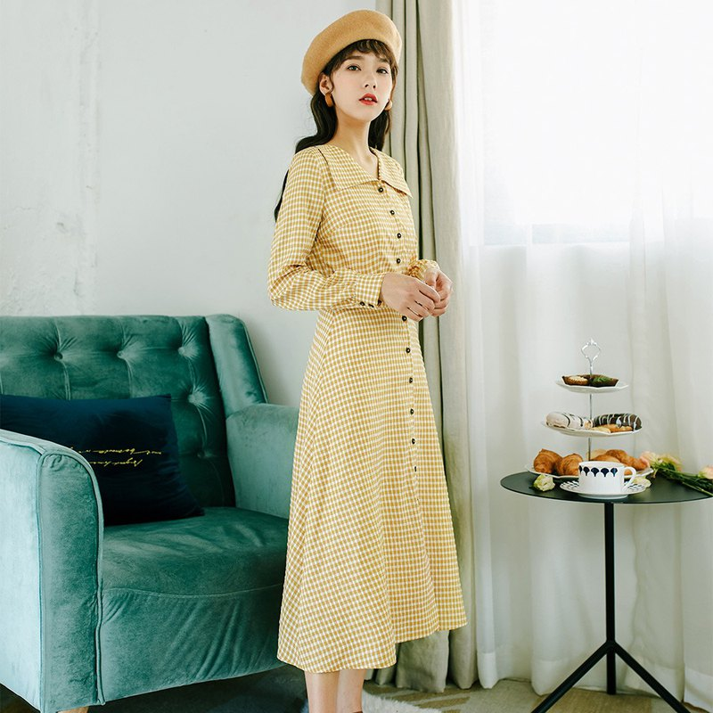 [Full court specials] Early spring ladies wear lapel plaid long-sleeved dress dress YHQ8926