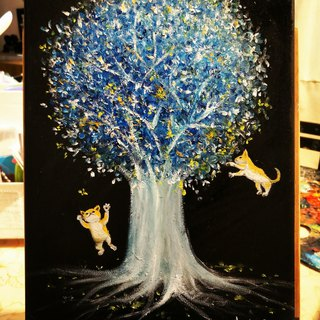 Oil painting --blue Tree