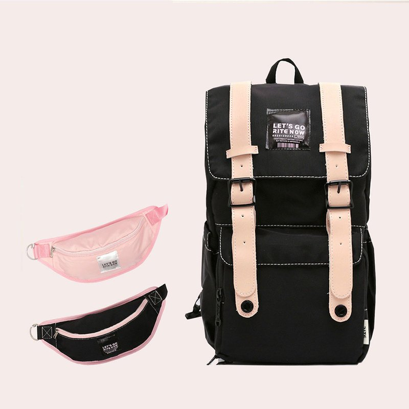 [Valentine's limited time combination] lightweight waterproof traveler bag - black x waist bag group