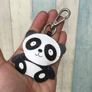 Taiwan MIT black / white cute panda bear handmade leather keychain small size