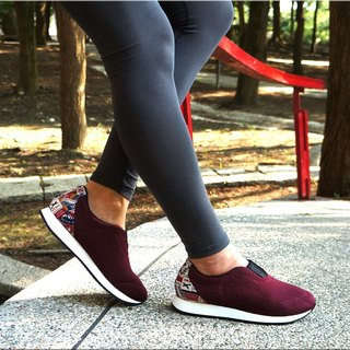 VPEP casual walking shoes / burgundy with travel flowers / walking, long-distance travel