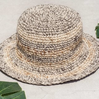 Hand-knitted cotton and linen cap knit hat fisherman hat visor straw hat - South American striped coffee latte