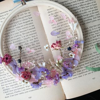 [good flower] dry flower embroidery frame is not withered hydrangea rose pink purple embroidery frame