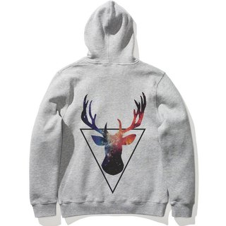 Triangle Deer 【Spot】 long-sleeved bristle hooded T 2 color triangle beard animals Galaxy Galaxy Youth Arts