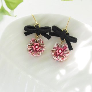 Cute bow and Pink Flower Drop Earrings Clip-on 14KGF, S925 custom