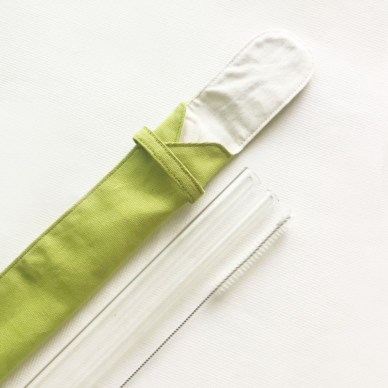 Duo Glass Straw Pouch Set/ Color: Frog Green/ Unfolds Entirely for Cleaning
