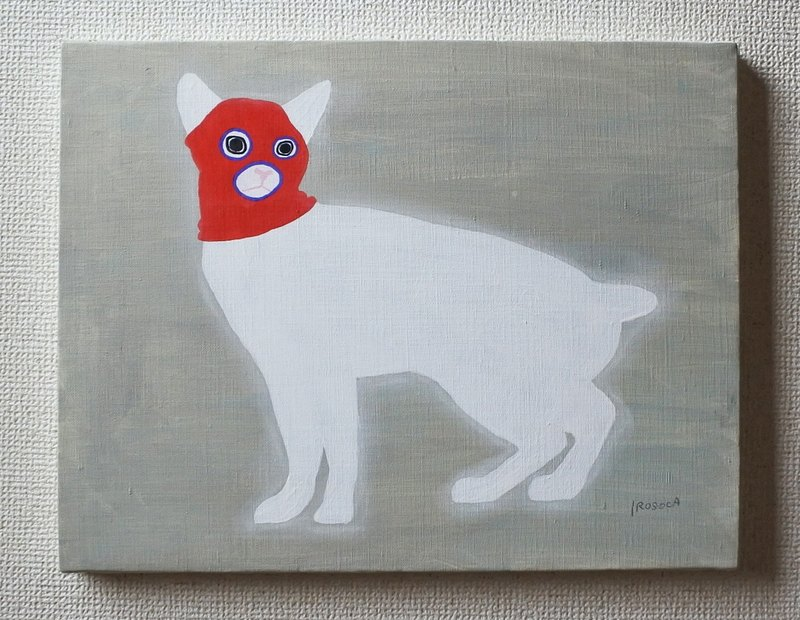 [IROSOCA] Cat with eyes hat (red) Canvas painting F 6 size original picture