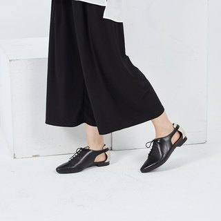 [Yuyou stroll] pointed side hollow straps double spell leather personality shoes _ London night black