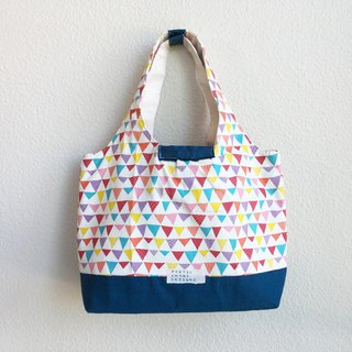 Celebrating with Childlike Hearts - Colorful Wanqi Prussian Blue Tote Bag Shoulder Bag Japanese Fabric