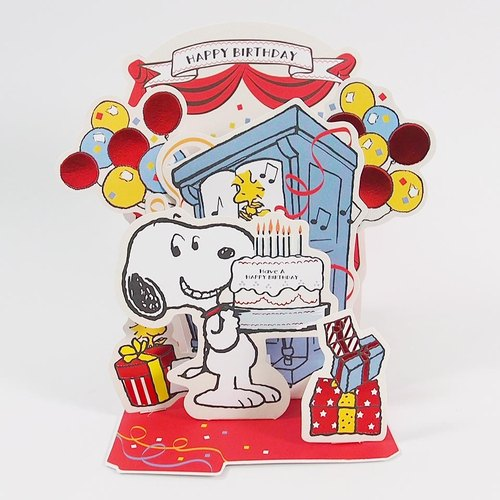 Snoopy Celebration Party Jp Stereo Birthday Card Designer