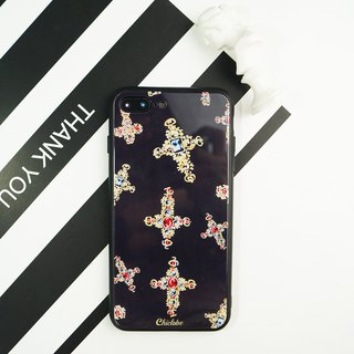 Painted tempered glass shell [cross jewel]