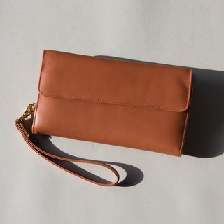 WOMEN MINIMAL SOFT COW LEATHER 'HAPPY' PURSE/LONG WALLET-BROWN