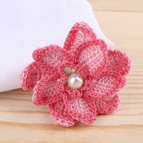 Limited edition hand-crocheted lace Cotton Magenta Dahlia brooch