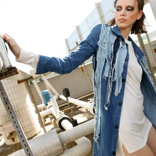 Gradient wash cowboy single-breasted trench coat price dress jacket