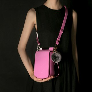 Rose red leather candy color mobile phone small square bag cross-body bag with side backpack can be loaded with iPhone X
