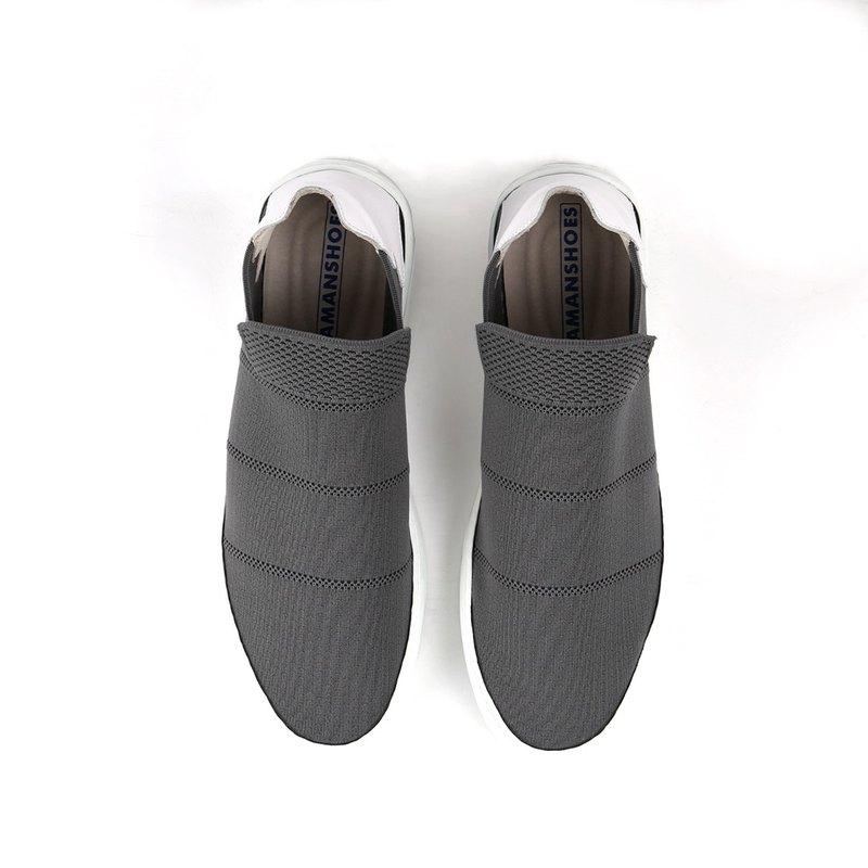 彈性輕量皮革拼接厚底休閒鞋20018060