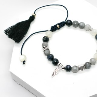 Iced marine beaded natural stone silver bracelet │ white blue gray gift birthday feather drawstring