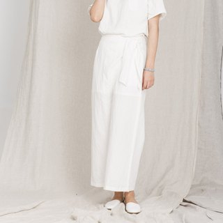 BUFU  Linen jacquard wide leg pants in white P161008