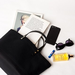 Leather handle tote bag  --  ALL  BLACK
