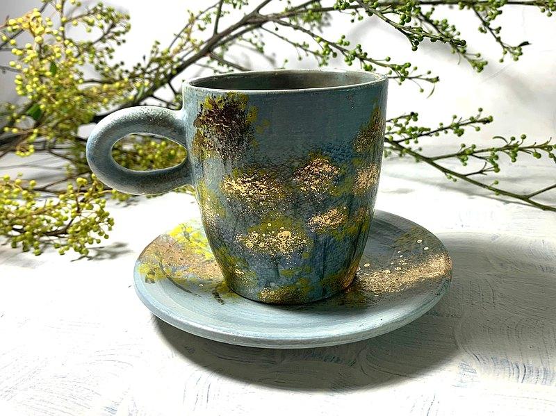 蠟菊花海咖啡杯/咖啡杯盤組_陶器馬克杯