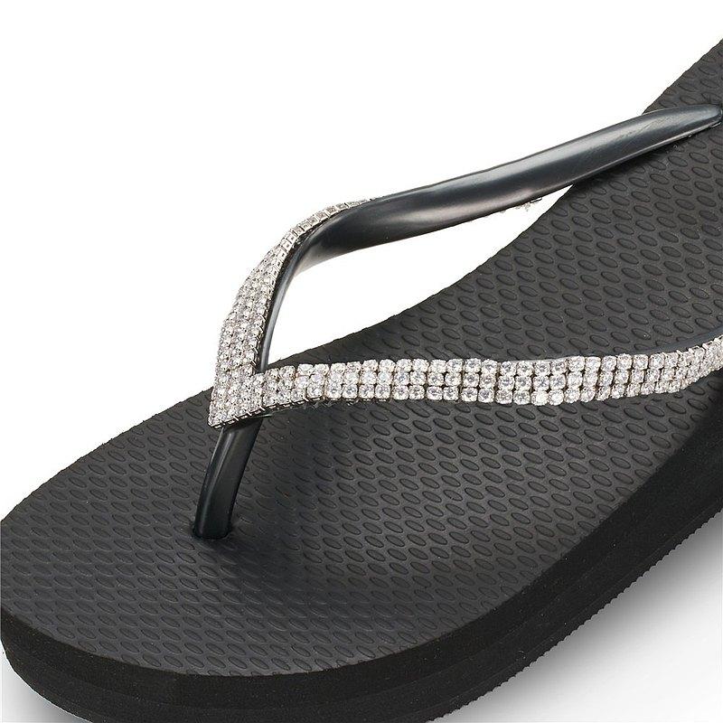 女款3cm厚底夾腳拖鞋-頂級首飾工藝水鑽-鋯石鑽鍊 爵士黑