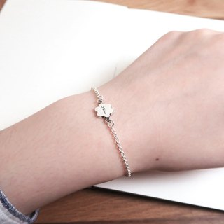 Small flower double circle flower 925 sterling silver custom lettering bracelet
