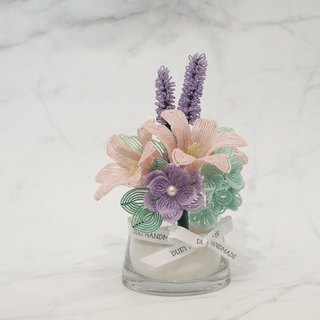 Handmade Home Décor | Gift | French Beaded Lily & Lavender Flower Arrangement