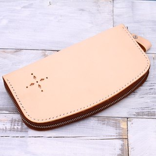 [Cut line] Italian vegetable tanning leather leather travel zipper organ purse wallet RFID shield wallet color
