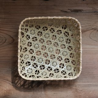 Handmade bamboo platter (L) | hexagonal hole chrysanthemum | primary colors