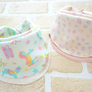 Baby Bib, Set of 2, Reversible Baby Bandana Bib, Japanese Cotton, Girl Set