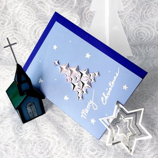 X'mas Card in Iced Blue and Snowy X'mas Tree