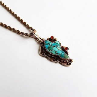 [Ancient Pieces] Bronze Inlay Natural Ore Turquoise • Pendant Necklace