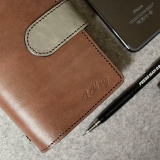 YOURS handmade leather goods A7-Size leather loose-leaf notebook notebook hidden magnetic buckle special plus layer version of deep wood + green leather