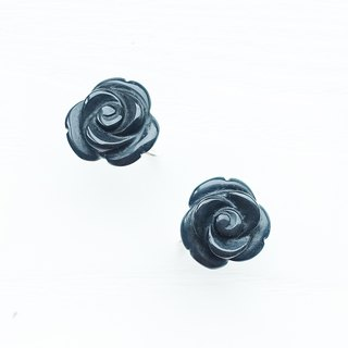 ROSE-Obsidian with sterling silver  piercing earrings